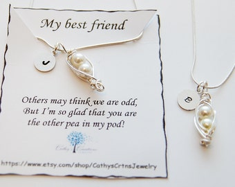 Matching Best Friend Necklace, Freindship Necklace, Gift Necklaces, Pea Pod Jewelry