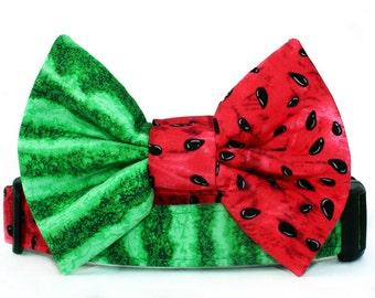 Watermelon Bow Tie Dog Collar in Red and Green