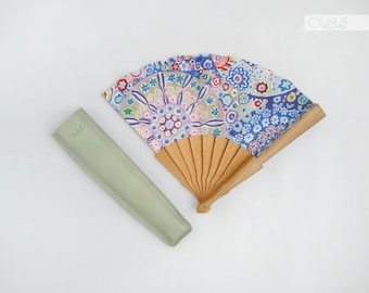 Spanish hand fan | Pink and blue Spring flowers | Nature print | Floral accessory | Wedding Bouquet | Mothers Day gift