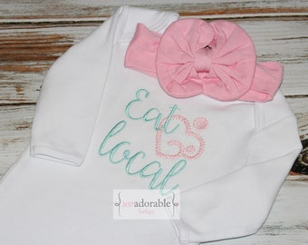 Eat Local Breastfeeding Baby Gown or Bodysuit, Coming Home Outfit, Baby Shower Gift, Funny Baby Bodysuit, Layette Baby Gown