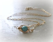 Gold Wire Wrapped Turquoise Necklace