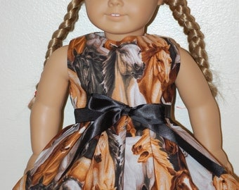 Herd of wild horses dress - clothes fit American Girl doll