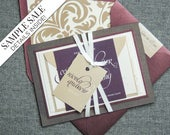 "Burgundy Wedding Invitations, Luxury Wedding Invitation, Double Layer Invite, Purple Calligraphy Invitations - ""Dramatic Script"" FP-2L-v1"