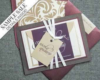 "Burgundy Wedding Invitations, Luxury Wedding Invitation, Double Layer Invite, Purple Calligraphy Invitations - ""Dramatic Script"" FP-2L-v1"