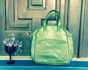Vintage Tote Handbag Green Retro Bag Large Purse artedellamoda talkingfashion