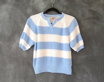 80s Cropped Sweater Baby Blue White Striped Short Sleeve Oversized Boxy  Ladies Size M