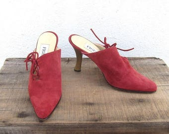 15% Off Out of Town Sale 90s Mules Modernist Red Suede Laced Pointed Toe High Heel Shoes Ladies Size 36 (US 6)