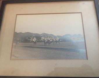 Antique geletin horse race photograph