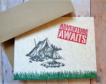 Camping Tent Note Cards Adventure Awaits Nature Rustic Woodland Camp Out Hiking