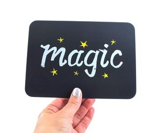 Cute Lettered Art Card MAGIC Stars Navy Blue card Inspirational card TYPOGRAPHIC 5x7, 2-sided flat card