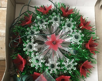Vintage Retro Tree Topper Pointsettia  and Tinsel Round Mixed colored lights Sweet