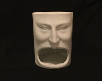 """Cordon Blue Large Open Mouth Face Mug. Very Unusual Collectable Mug. 5"""" Tall, 3 1/2"""" Wide"""