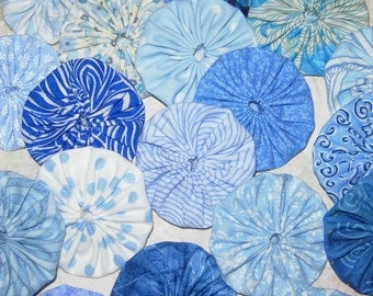 """Fabric YoYos,  20 Blue Prints, 2"""" Size, Crafting, Quilting, Appliques"""