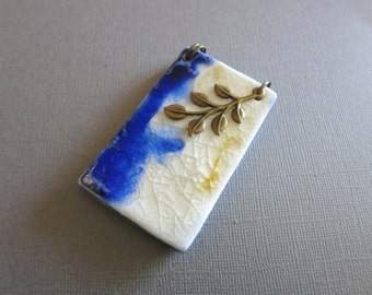 Pendant, Antique tone pendant, Handmade artistic pendant, Porcelain pendant with brass, Unique pendant