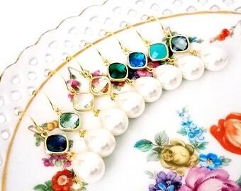 Pearl drop earrings Bridal pearl teardrop earrings Pearl earrings Pearl dangle earrings Diamond and pearl earrings  Gift Bridesmaid earrings