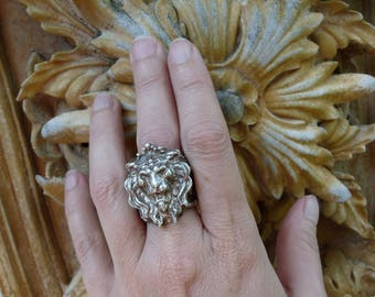 RESERVED/SOLD:  Vintage Gothic Crowned Lion Gargoyle Ring, The Heralding, by RusticGypsyCreations