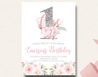 Silver Floral Girls First Birthday Invitation | Gray and Pink | Girls Invitations | Printable Invite