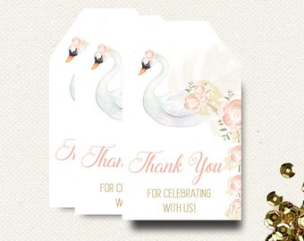 Swan Favor Tags | Baby Shower Favor Tags | Birthday Favor Tags | Printable PDF File