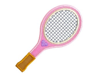 "Tennis Racquet Racket Appliques Machine Embroidery Design Applique Pattern 3 variations in 4 sizes each 3"", 4"", 5"" and 6"""