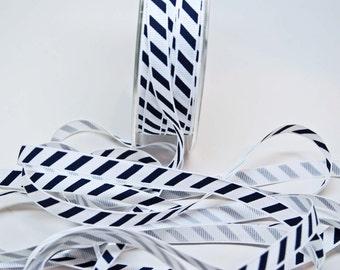 Varsity Diagonal Grosgrain Stripe Ribbon -- 3 / 8 Inch -- Navy White Stripe