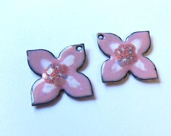 Pink flower enamel charms Artisan findings Unique jewelry components Murrini copper enamel drops Handmade