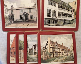 Pimpernel Place Mats Coasters Trivets England's Historic Inns (Set of 6)