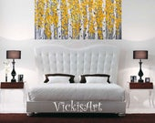 Birch Aspen Grey Yellow  Abstract Autumn Fall Trees Wall Art 48 w x 30 h x 1.75  Large Painting Wall Art Ready to Ship Free