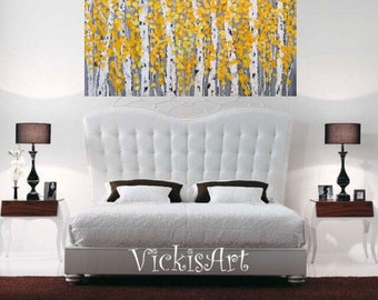 Birch Aspen Grey Yellow  Abstract Autumn Fall Trees Wall Art 48 w x 24 h x 1.75  Large Painting Wall Art Ready to Ship Free