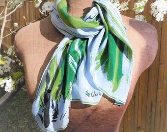 Vera Scarf - Vintage VERA- Vera Neumann-Ladybug scarf-blue and green - graphic scarf - oblong scarf