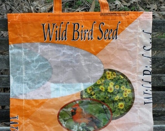 NEW LOW PRICE, 3 Colors, Large Upcycled Recycled Repurposed  Grocery Market Tote or Gift Bag for Bird Lovers