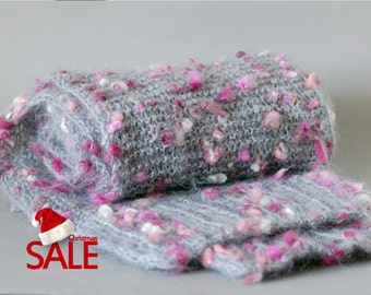 Christmas SALE 20% OFF Extra long and chunky wool knit scarf in grey with pink spots. Oversized knit scarf.