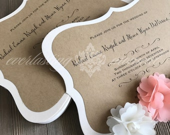 Vintage Bracket Wedding Invitation, Rustic, Wedding, Elegant, Kraft Dusty Pink, Everlasting Moment