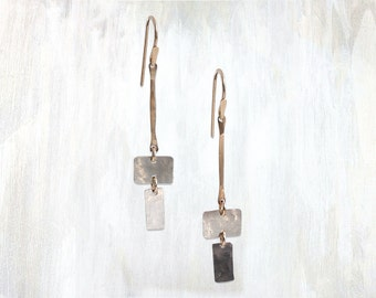 Hammered Rectangles Drop Earring, Intersect Earring