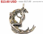 Sterling Silver Woman Charm - Woman on a Crescent Tree Branch - Sterling Silver Pendant - Vintage Charm