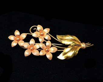 Rose Gold Filled Flower Brooch - Signed Krementz - Multi Colored Goldfilled - Vintage 1950s 1960s Floral Pin - Pink Gold Bouquet of Flowers
