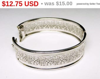 Spring Sale Vintage Filigree Bangle Bracelet - Silvertone 1960's Hinged Cuff - Mid Century Jewelry