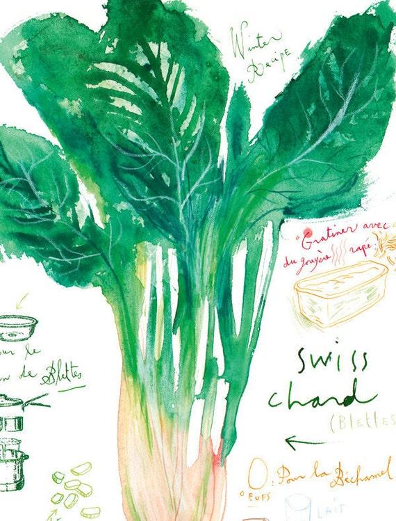 Escape Bathrooms Chard swiss chard recipe print green kitchen decor watercolor