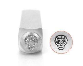 Sugar Skull Metal Stamp-Metal Design Stamp-ImpressArt- 6mm Design Stamp--Steel Stamps-Metal Stamping Tool-Metal Supply Chick SC1515N