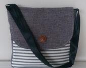 Messenger Bag: Grey and Stripes