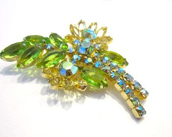Vintage Green Yellow Rhinestone Brooch Vintage Pin Gift for Her Stunning Quality Aurora Borealis Jewelry Gift Idea Jewelry for Mom for Her