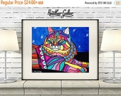 50% Off Today- SIberian CAT Folk art  Poster Print of painting by Heather Galler (Hg838)