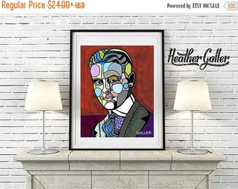 50% Off Today- F. Scott Fitzgerald Art  Art Print Poster by Heather Galler Abstract Portrait Famous Writer author (Hg420)