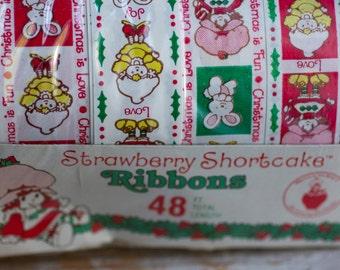 Vintage Strawberry Shortcake Ribbon - 80's Girls Gift Wrap Ribbon, Christmas Ribbons, Kids Girls Holiday Wrapping Paper