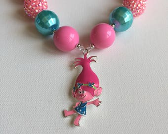 Trolls Necklace - Trolls Pink Poppy Necklace - Trolls Party - Little Girl Necklace - Pink Poppy Necklace - Trolls Birthday