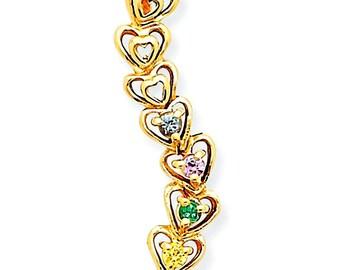 Family Birthstone Linked Hearts Slide Pendant, 14K White or Yellow Gold Pendant, 1 to 5 Stones, Custom-Made Family Birthstone Pendant