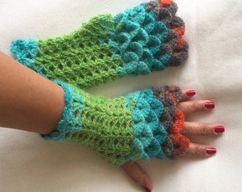 Crochet Fingerless Gloves Crocodile Stitch in Shades of Green Red and Turquoise