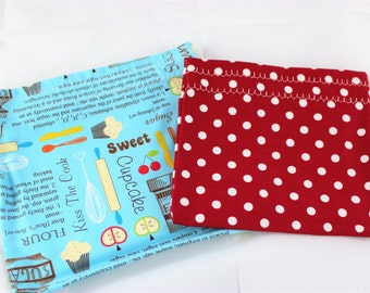 Snack Bags - Reusable Snack Packs - Sandwich and Snack Bags - Cupcakes Snack Pouches - Set of Two