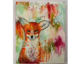 folk art Original fox painting whimsical boho mixed media art on wood panel 11x14 inches - A tale of foxes and frostbite