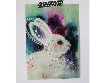 Bunny Rabbit glossy oversized postcard poster print bunny rabbit painting art print A5 size - Enchanted Whisperings