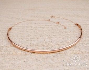 Rose Gold Choker – Simple Gold Choker – Rose Gold Necklace – Minimal Choker Necklace – Basic Gold Choker – Simple Choker – Basic Necklace